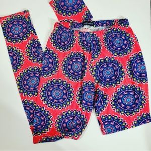3/25 Simply South Pink & Blue Patterned Leggings